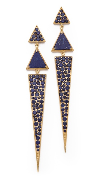 Elizabeth and James Metropolis Pave Long Triangle Earrings
