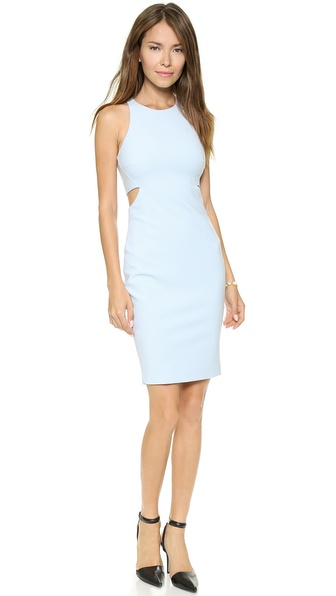 Shop Elizabeth and James online and buy Elizabeth And James Lela Cutout Dress Sky - Side cutouts bring a sense of flirtation to this Elizabeth and James dress, and a slit allows for easy movement. Exposed back zip. Sleeveless. Lined. Fabric: Stretch suiting. Shell: 54% polester/38% viscose/8% elastane. Lining: 97% polyester/3% spandex. Imported, China. COLOR: Hot Coral is brighter than it appears in still photos. Measurements Length: 37in / 94cm, from shoulder Measurements from size 2. Available sizes: 2,4,10