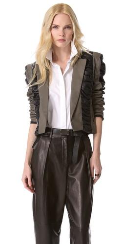 Elise Overland Leather Bolero with Ruched Panels