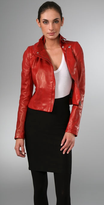 Elise Overland Cropped Leather Fencing Jacket