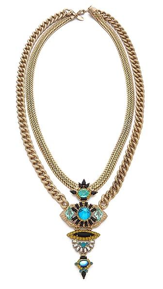 Elizabeth Cole Double Chain Pendant Necklace