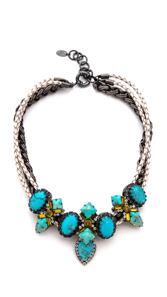 Elizabeth Cole Braided Leather Stone Station Necklace