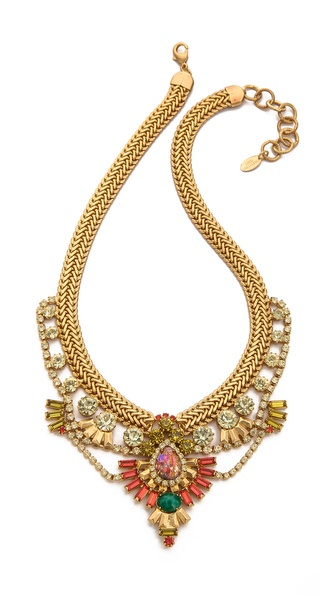 Elizabeth Cole Short Crystal Bib Necklace