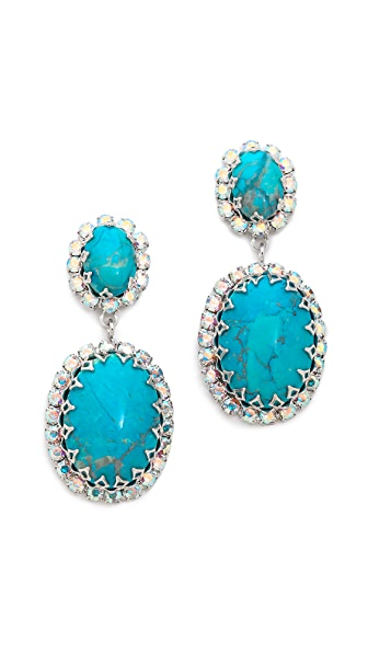 Elizabeth Cole Double Turquoise Earrings