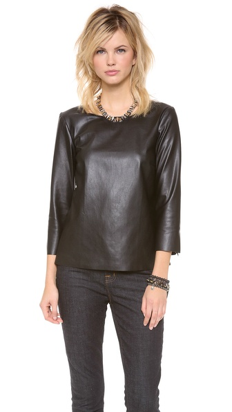 Ella Moss Sandra Faux Leather Long Sleeve Top