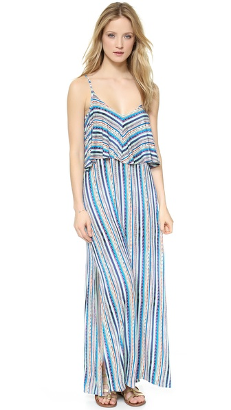 Shop Ella Moss online and buy Ella Moss Bondi Maxi Dress Azure - An Ella Moss maxi dress in a multi stripe pattern. The ruffled overlay and double side slits create a relaxed look. Adjustable shoulder straps. Unlined. Fabric: Jersey. 95% rayon/5% spandex. Dry clean. Made in the USA. MEASUREMENTS Length: 53in / 134.5cm, from shoulder. Available sizes: L,S