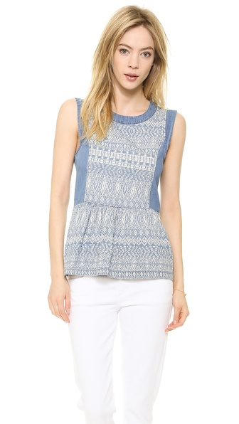 Ella Moss Paz Chambray Blouse - Medium Wash at Shopbop / East Dane