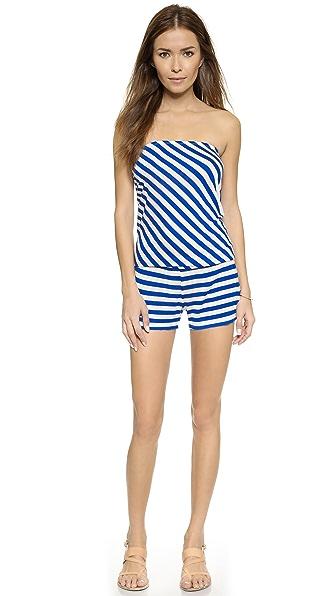 Shop Ella Moss online and buy Ella Moss Cabana Romper - Blue swimwear online