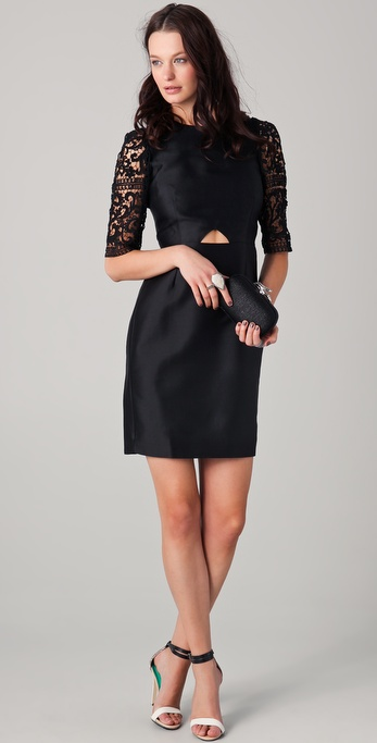 Ellery Cutaway Dress with Lace Sleeves