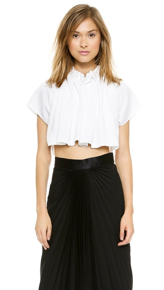 Ellery Seashell Gathered Crop Top