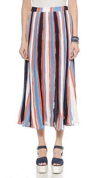 Elle Sasson Koa Silk Skirt - Stripes