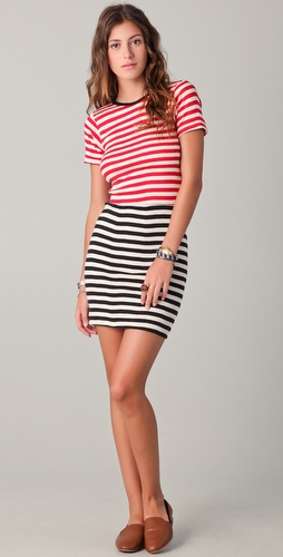Edith A. Miller Combo Striped Mini Dress
