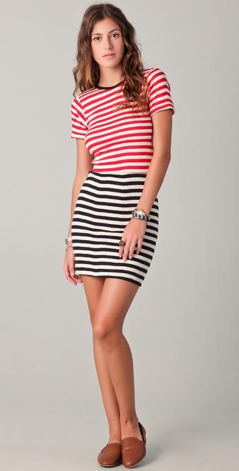 Edith A. Miller Combo Striped Mini Dress