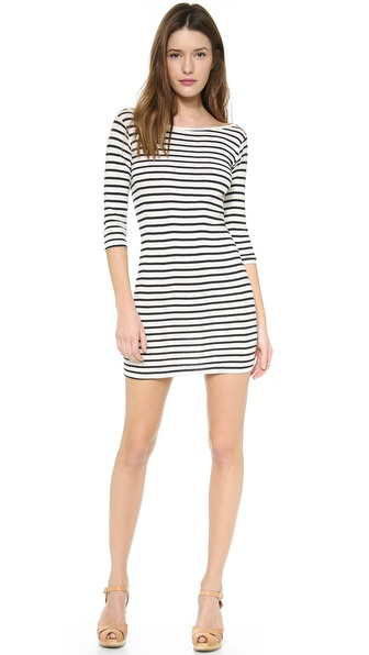 Edith A. Miller Boat Neck 3/4 Sleeve Mini Dress