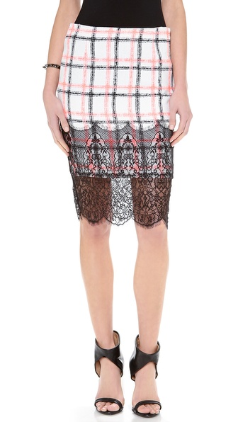 endless rose Box Plaid Pencil Skirt