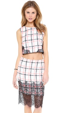 endless rose Box Plaid Shell Blouse