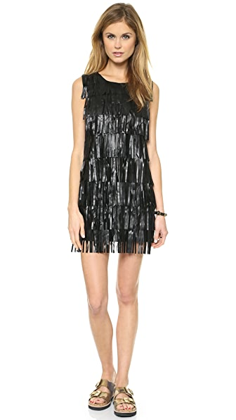 endless rose Faux Leather Fringe Dress