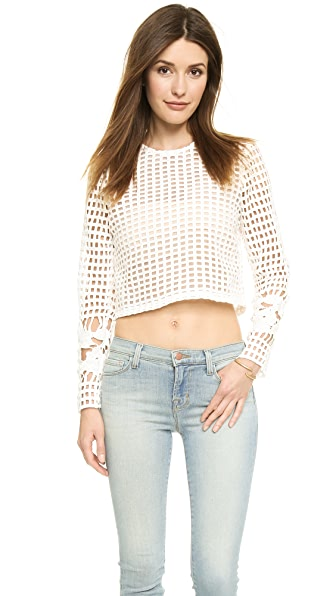 Endless Rose Endless Rose Lattice Lace Crop Top (White)