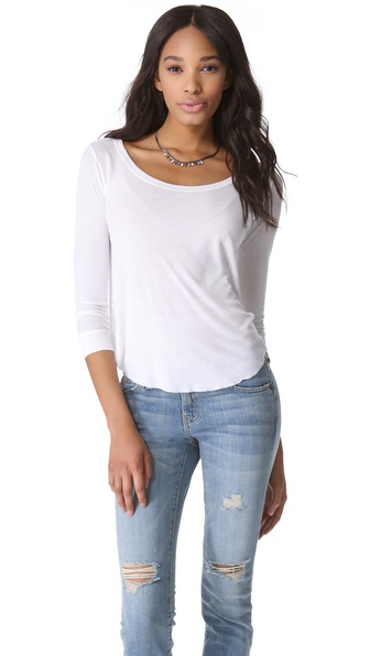 Enza Costa Rib Baseball Top with Long Sleeves