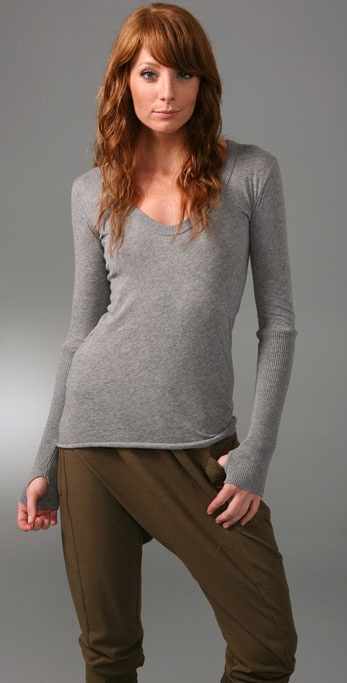 Enza Costa Cotton Cashmere Sweater with Thumbholes