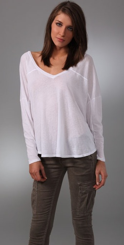 Enza Costa Oversized Long Sleeve V Tee