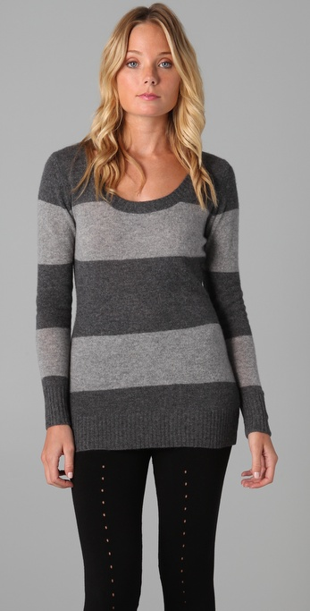 Enza Costa Striped Cashmere Sweater