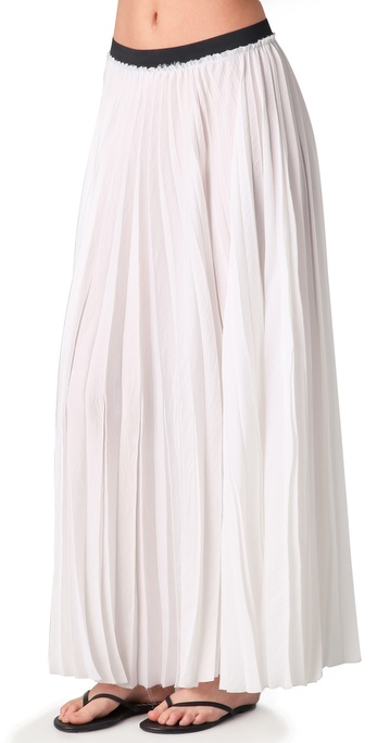 Enza Costa Pleated Maxi Skirt