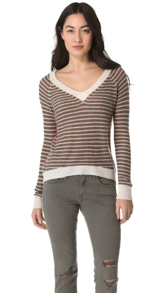 Enza Costa Cashmere Colorblock Sweater
