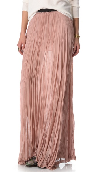 Enza Costa Chiffon Pleated Maxi Skirt