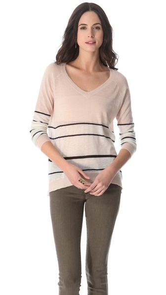 Enza Costa Cashmere Colorblock Pullover