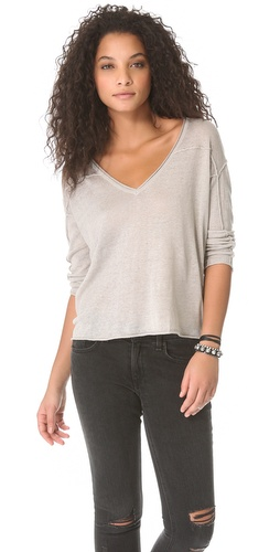 Shop Enza Costa Linen Loose V Pullover and Enza Costa online - Apparel,Womens,Sweaters,Pull_Over, online Store