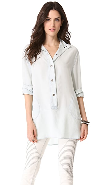 Enza Costa Long Sleeve Henley Tunic
