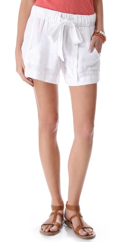 Enza Costa Belted Linen Shorts
