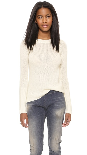Enza Costa Marled Cuffed Crew Sweater