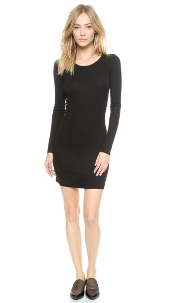 Shop Enza Costa online and buy Enza Costa Ribbed Long Sleeve Mini Dress Black online