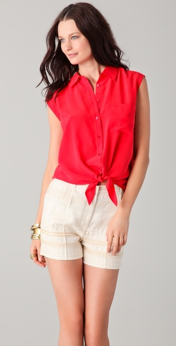 Equipment Diem Tie Front Blouse