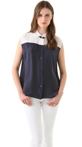 Equipment Diem Clean Two Tone Blouse