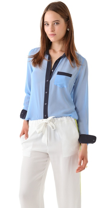 Equipment Brett Colorblocked Blouse