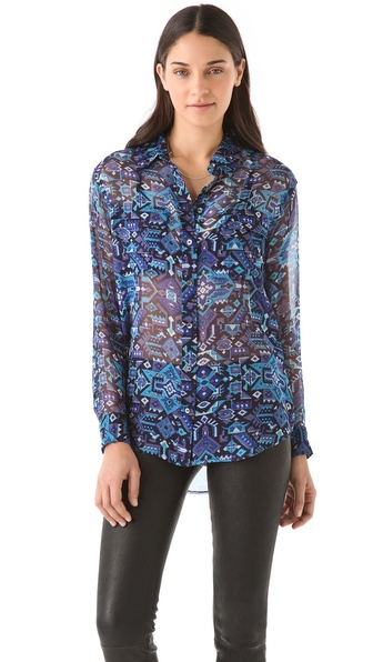 Equipment Signature Silk Blouse with Pockets