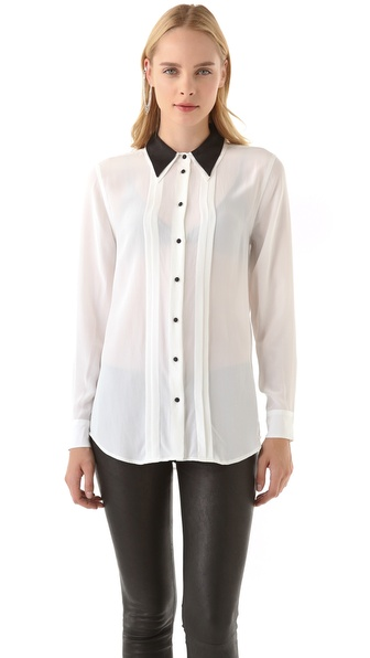 Equipment Cora Blouse with Contrast Collar