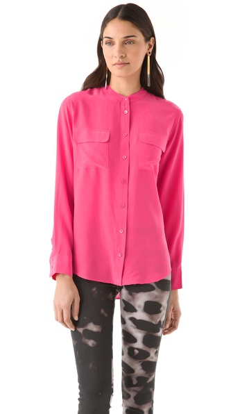 Equipment Collarless Slim Signature Blouse