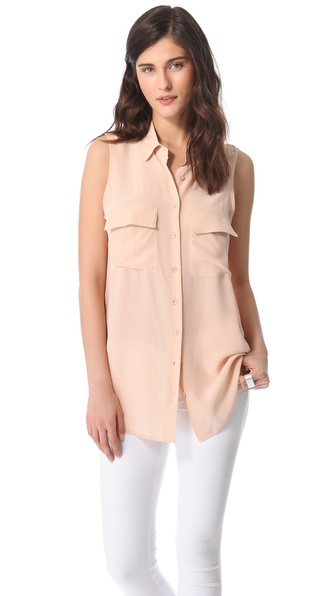 Sleeveless Blouse :  pink equipment peach style