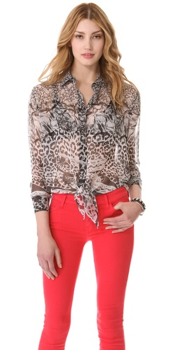 Shop Equipment Daddy Tie Front Snake Blouse and Equipment online - Apparel,Womens,Tops,Buttondown, online Store