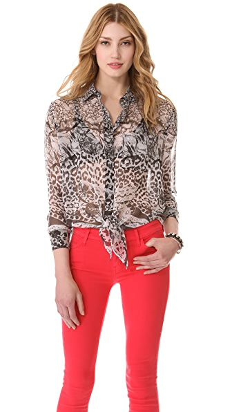 Equipment Daddy Tie Front Snake Blouse