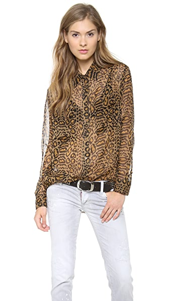 Equipment Distressed Hide Signature Blouse