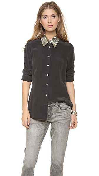 Equipment Elijah Contrast Collar Blouse