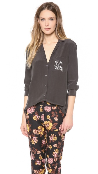Equipment Keira Blouse with Printed Pocket