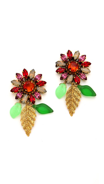 Erickson Beamon Garden Party Crystal Flower Earrings
