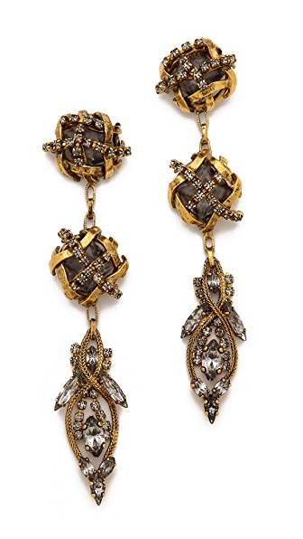 Erickson Beamon Heart of Gold Drop Earrings