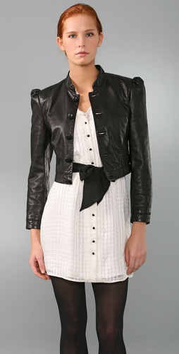 Erin Fetherston Peak Shoulder Leather Jacket